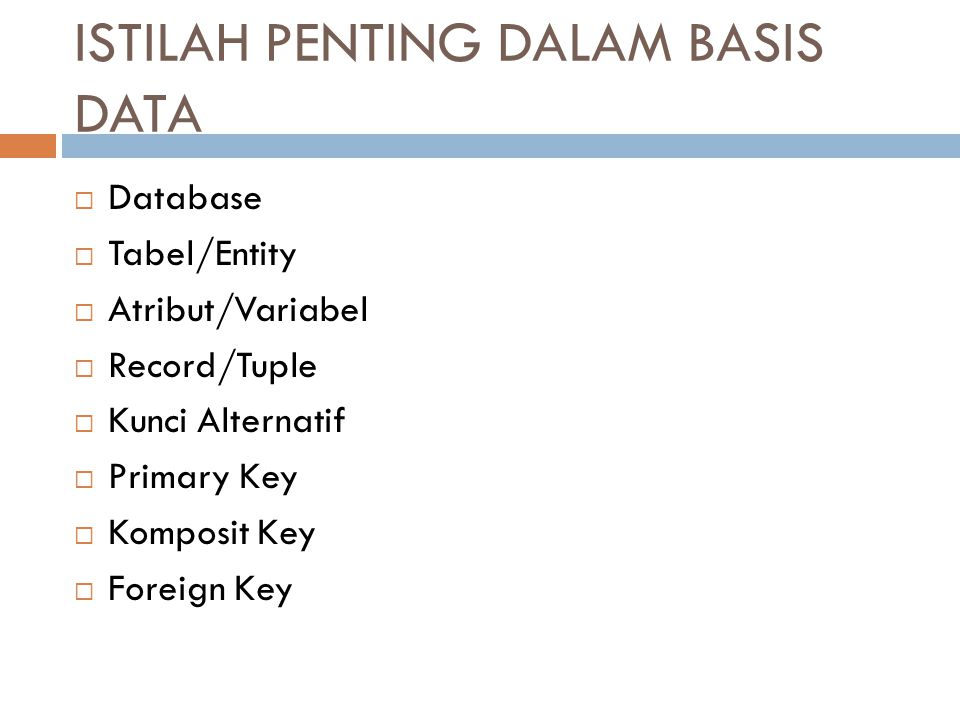 ISTILAH PENTING DALAM BASIS DATA  Database  Tabel/Entity  Atribut/Variabel  Record/Tuple  Kunci Alternatif  Primary Key  Komposit Key  Foreign