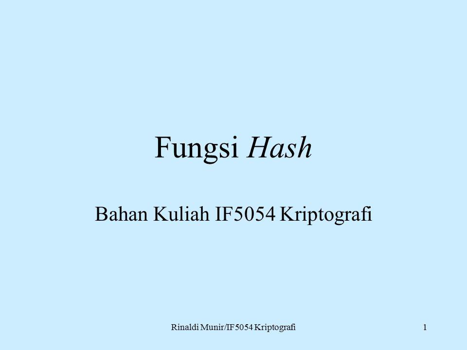 Rinaldi Munir/IF5054 Kriptografi1 Fungsi Hash Bahan Kuliah IF5054 Kriptografi