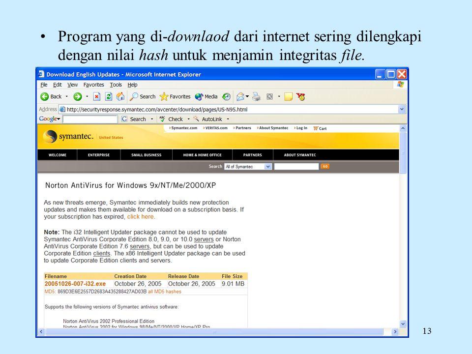 Rinaldi Munir/IF5054 Kriptografi13 Program yang di-downlaod dari internet sering dilengkapi dengan nilai hash untuk menjamin integritas file.