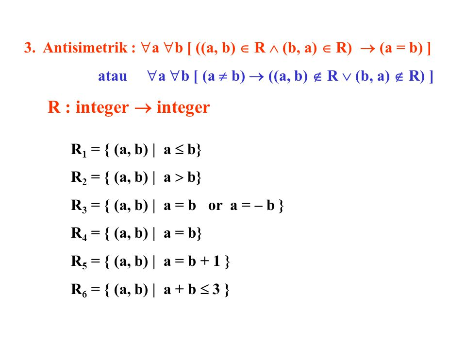 3. Antisimetrik :  a  b [ ((a, b)  R  (b, a)  R)  (a = b) ] atau  a  b [ (a  b)  ((a, b)  R  (b, a)  R) ] R : integer  integer R 1 = { (