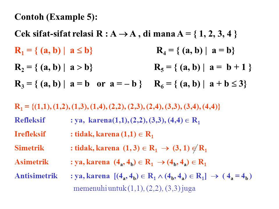 Contoh (Example 5): Cek sifat-sifat relasi R : A  A, di mana A = { 1, 2, 3 } R 2 = { (a, b) | a  b}R 5 = { (a, b) | a = b + 1 } R 6 = { (a, b) | a + b  3} Periksa sifat relasi utk relasi tsb Kerjakan per kelompok maks 3 org Sekarang!