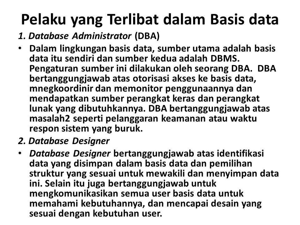 Pelaku yang Terlibat dalam Basis data 1. Database Administrator (DBA) Dalam lingkungan basis data, sumber utama adalah basis data itu sendiri dan sumb