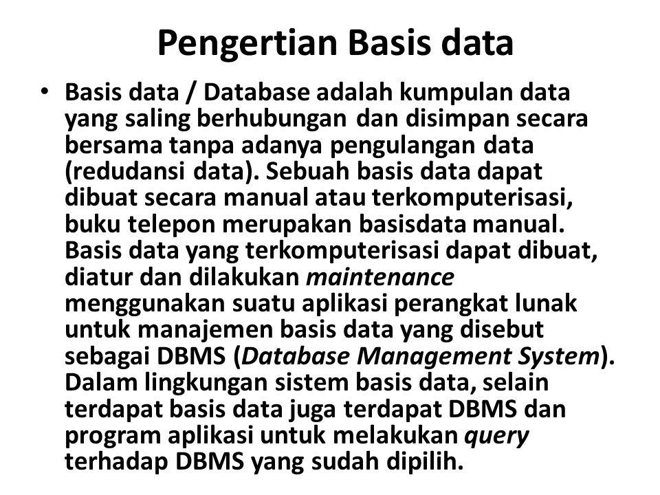 Pengertian Basis data Basis data / Database adalah kumpulan data yang saling berhubungan dan disimpan secara bersama tanpa adanya pengulangan data (redudansi data).