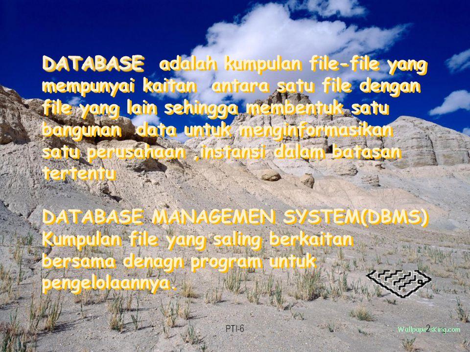PTI-63 Suatu koleksi data komputer yang : 1.Terintegrasi 2.