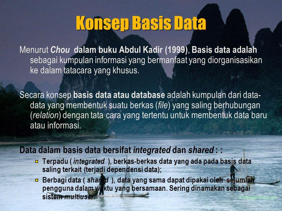 Konsep Basis Data Menurut Chou dalam buku Abdul Kadir (1999), Basis data adalah sebagai kumpulan informasi yang bermanfaat yang diorganisasikan ke dalam tatacara yang khusus.