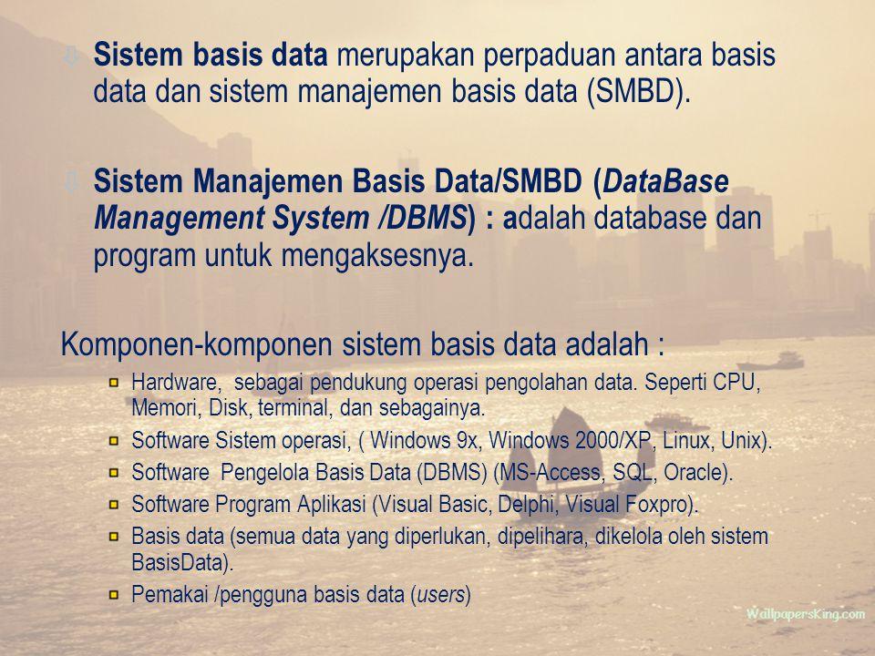 ò Sistem basis data merupakan perpaduan antara basis data dan sistem manajemen basis data (SMBD).