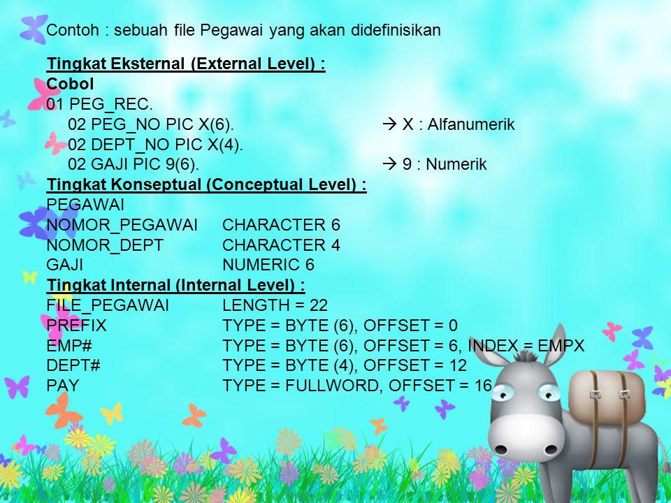 Contoh : sebuah file Pegawai yang akan didefinisikan Tingkat Eksternal (External Level) : Cobol 01 PEG_REC. 02 PEG_NO PIC X(6).  X : Alfanumerik 02 D