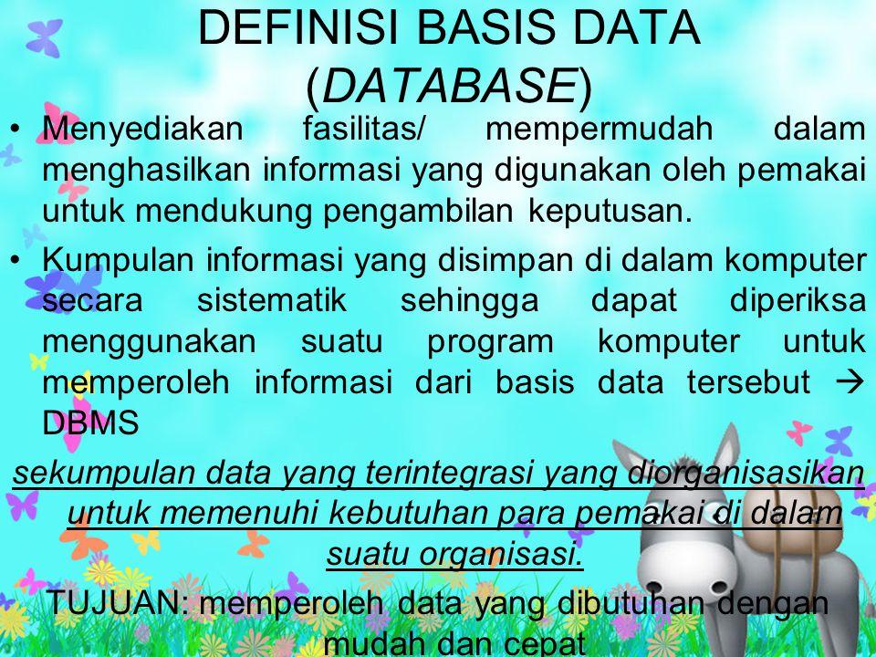 DEFINISI BASIS DATA (DATABASE) Menyediakan fasilitas/ mempermudah dalam menghasilkan informasi yang digunakan oleh pemakai untuk mendukung pengambilan