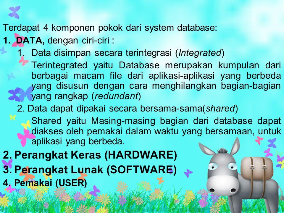 Terdapat 4 komponen pokok dari system database: 1. DATA, dengan ciri-ciri : 1.Data disimpan secara terintegrasi (Integrated) Terintegrated yaitu Datab