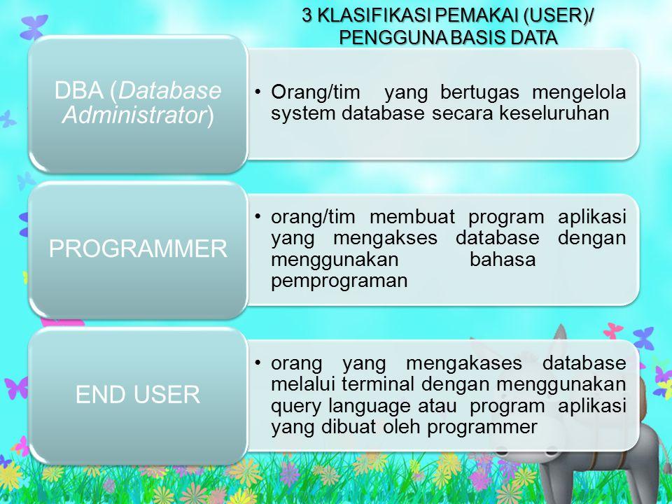 Orang/tim yang bertugas mengelola system database secara keseluruhan DBA (Database Administrator) orang/tim membuat program aplikasi yang mengakses da