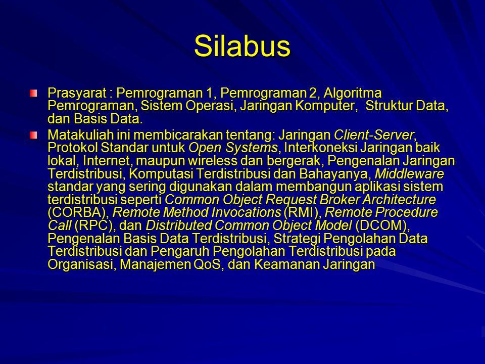 Referensi Buku: –tentang Sistem Terdisribusi: Distributed System, Komputasi Paralel/Terdisribusi, Basis Data Terdistribusi, Replikasi Basis Data, dan Keamanan Jaringan.