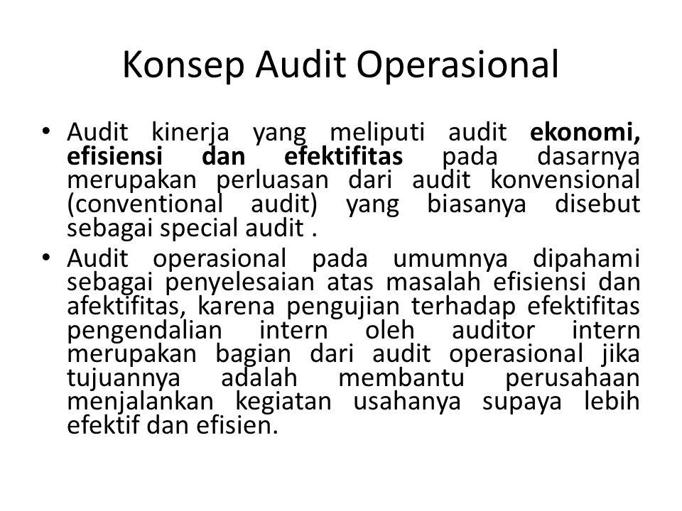 Konsep Audit Operasional Audit kinerja yang meliputi audit ekonomi, efisiensi dan efektifitas pada dasarnya merupakan perluasan dari audit konvensional (conventional audit) yang biasanya disebut sebagai special audit.