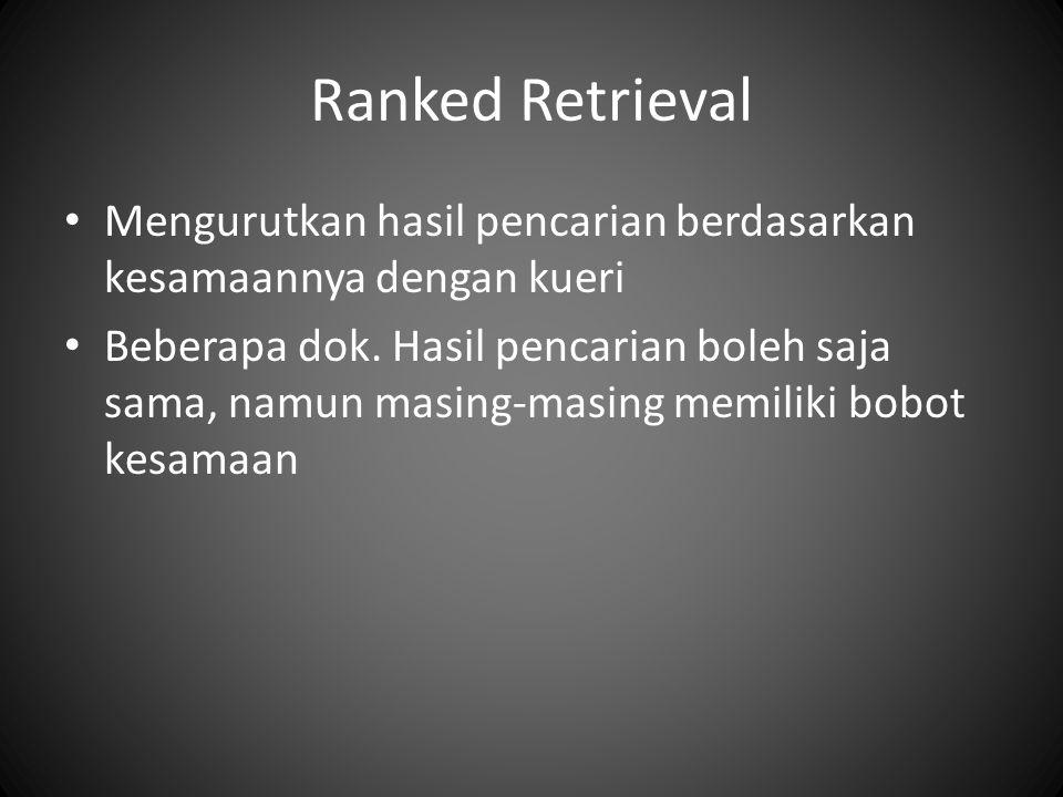 Ranked Retrieval Mengurutkan hasil pencarian berdasarkan kesamaannya dengan kueri Beberapa dok.