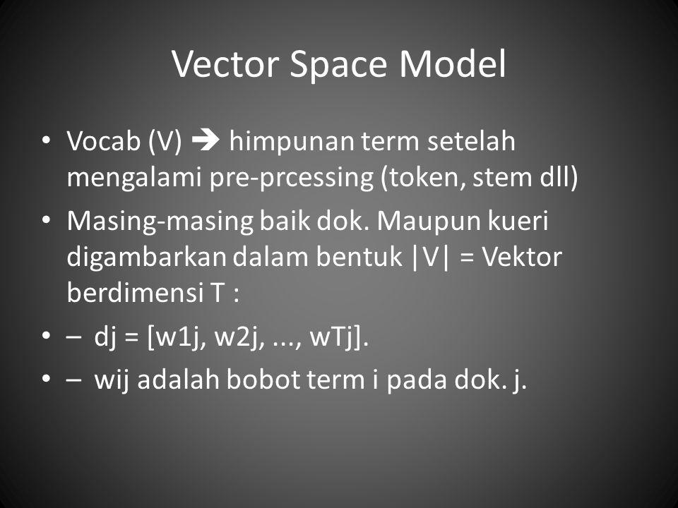 Vector Space Model Vocab (V)  himpunan term setelah mengalami pre-prcessing (token, stem dll) Masing-masing baik dok.