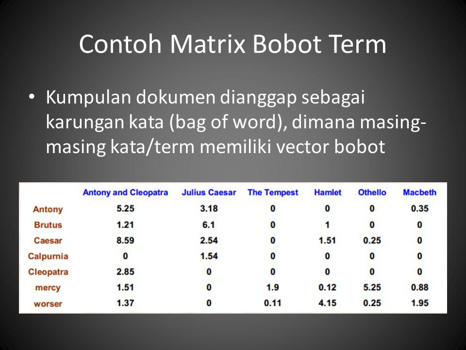 Contoh Matrix Bobot Term Kumpulan dokumen dianggap sebagai karungan kata (bag of word), dimana masing- masing kata/term memiliki vector bobot