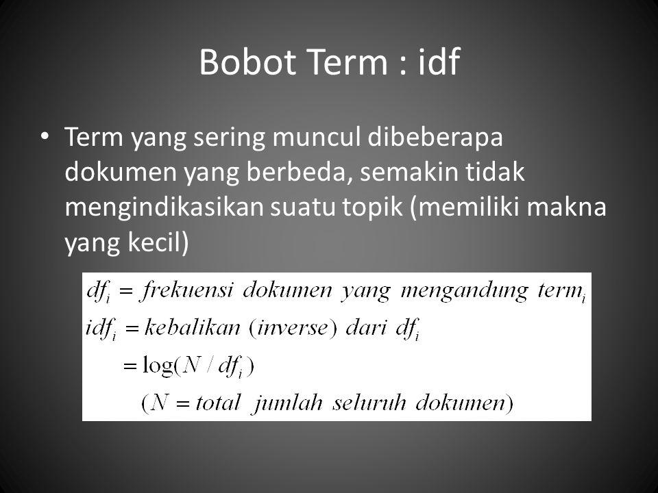 Bobot Term : idf Term yang sering muncul dibeberapa dokumen yang berbeda, semakin tidak mengindikasikan suatu topik (memiliki makna yang kecil)