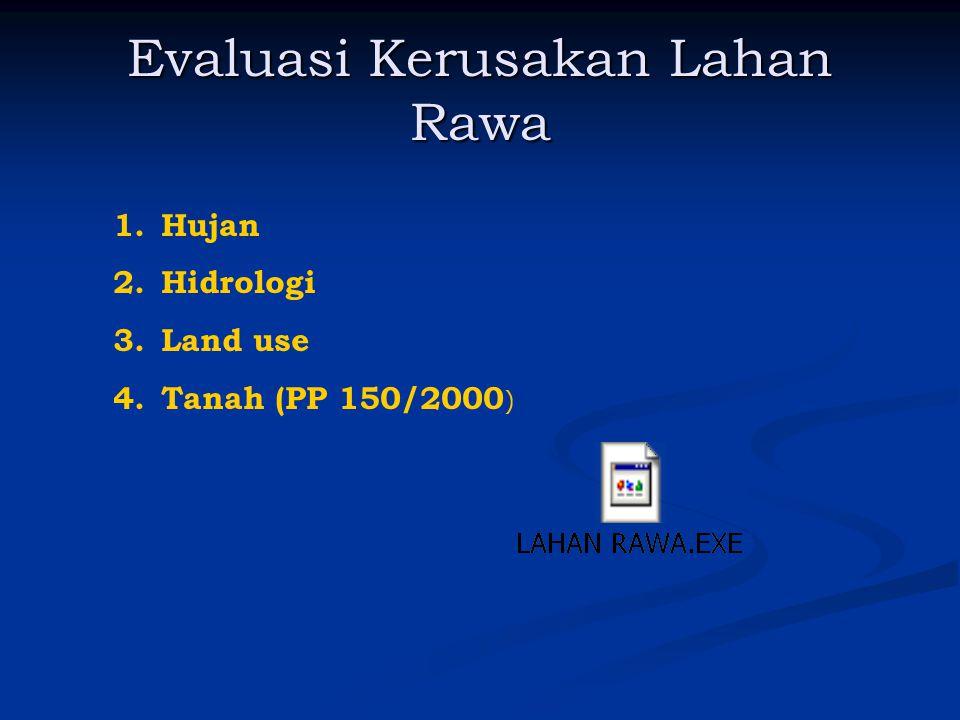 Evaluasi Kerusakan Lahan Rawa 1.Hujan 2.Hidrologi 3.Land use 4.Tanah (PP 150/2000 )