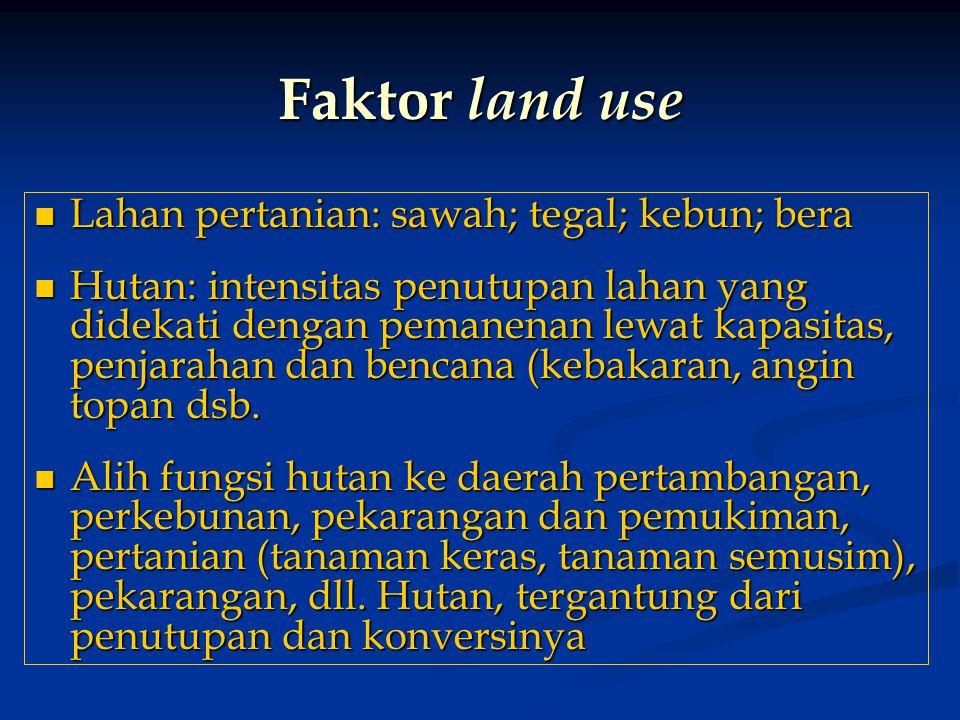 Faktor land use Lahan pertanian: sawah; tegal; kebun; bera Lahan pertanian: sawah; tegal; kebun; bera Hutan: intensitas penutupan lahan yang didekati