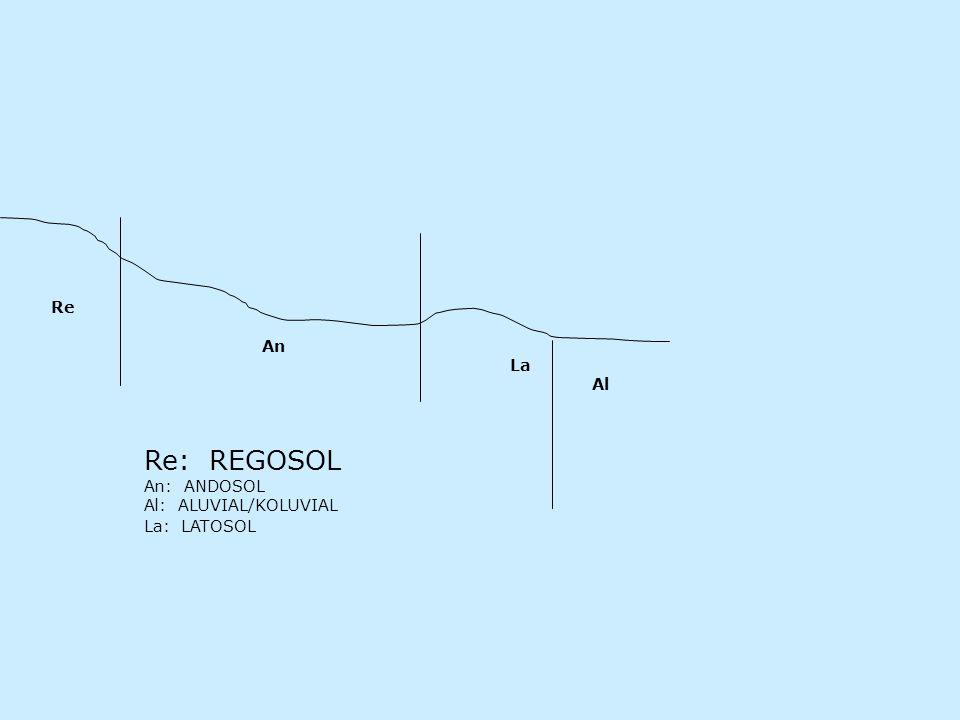 An La Al Re Re: REGOSOL An: ANDOSOL Al: ALUVIAL/KOLUVIAL La: LATOSOL
