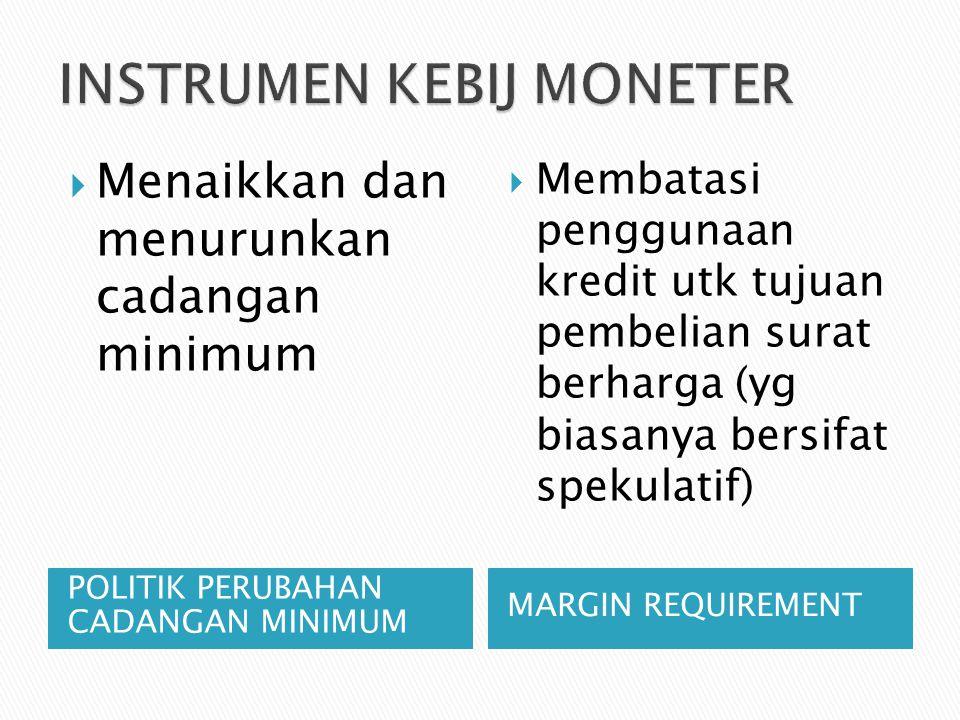 POLITIK PERUBAHAN CADANGAN MINIMUM MARGIN REQUIREMENT  Menaikkan dan menurunkan cadangan minimum  Membatasi penggunaan kredit utk tujuan pembelian surat berharga (yg biasanya bersifat spekulatif)