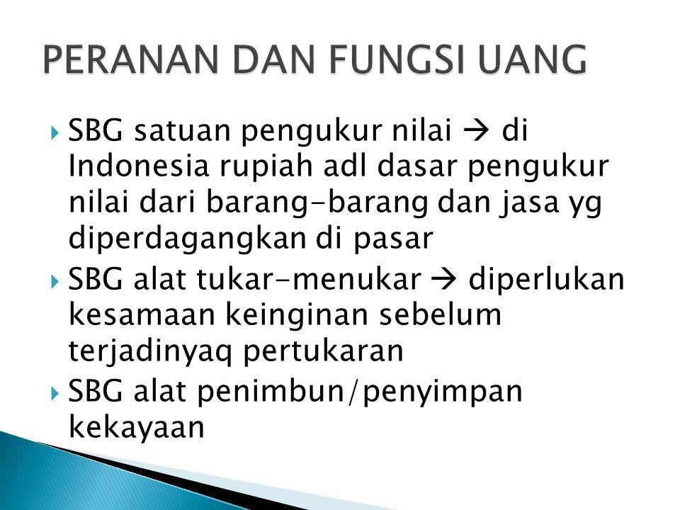 SBG satuan pengukur nilai  di Indonesia rupiah adl dasar pengukur nilai dari barang-barang dan jasa yg diperdagangkan di pasar  SBG alat tukar-menukar  diperlukan kesamaan keinginan sebelum terjadinyaq pertukaran  SBG alat penimbun/penyimpan kekayaan