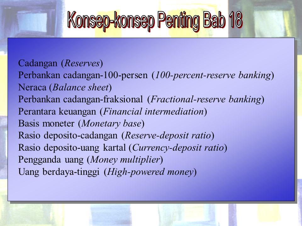 Chapter Eighteen18 Cadangan (Reserves) Perbankan cadangan-100-persen (100-percent-reserve banking) Neraca (Balance sheet) Perbankan cadangan-fraksiona