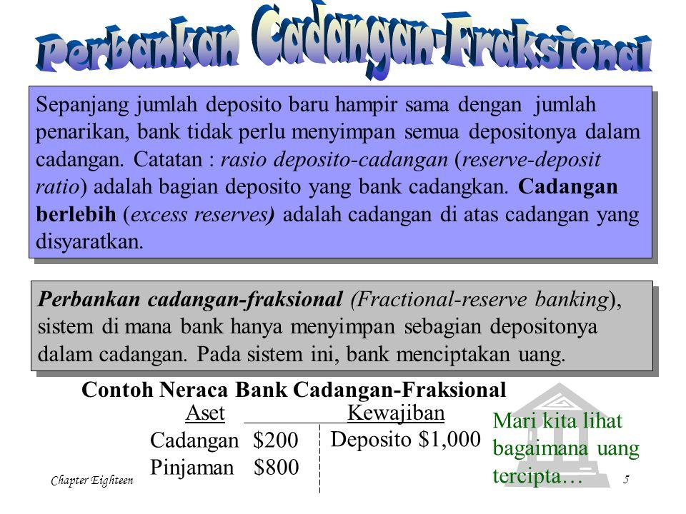Chapter Eighteen5 Sepanjang jumlah deposito baru hampir sama dengan jumlah penarikan, bank tidak perlu menyimpan semua depositonya dalam cadangan. Cat