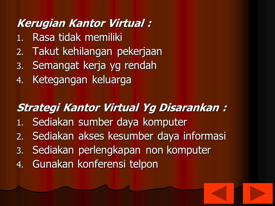 Kerugian Kantor Virtual : 1. Rasa tidak memiliki 2. Takut kehilangan pekerjaan 3. Semangat kerja yg rendah 4. Ketegangan keluarga Strategi Kantor Virt