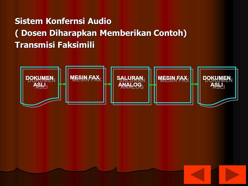 Sistem Konfernsi Audio ( Dosen Diharapkan Memberikan Contoh) Transmisi Faksimili DOKUMEN ASLI DOKUMEN ASLI DOKUMEN ASLI DOKUMEN ASLI MESIN FAX SALURAN ANALOG SALURAN ANALOG MESIN FAX