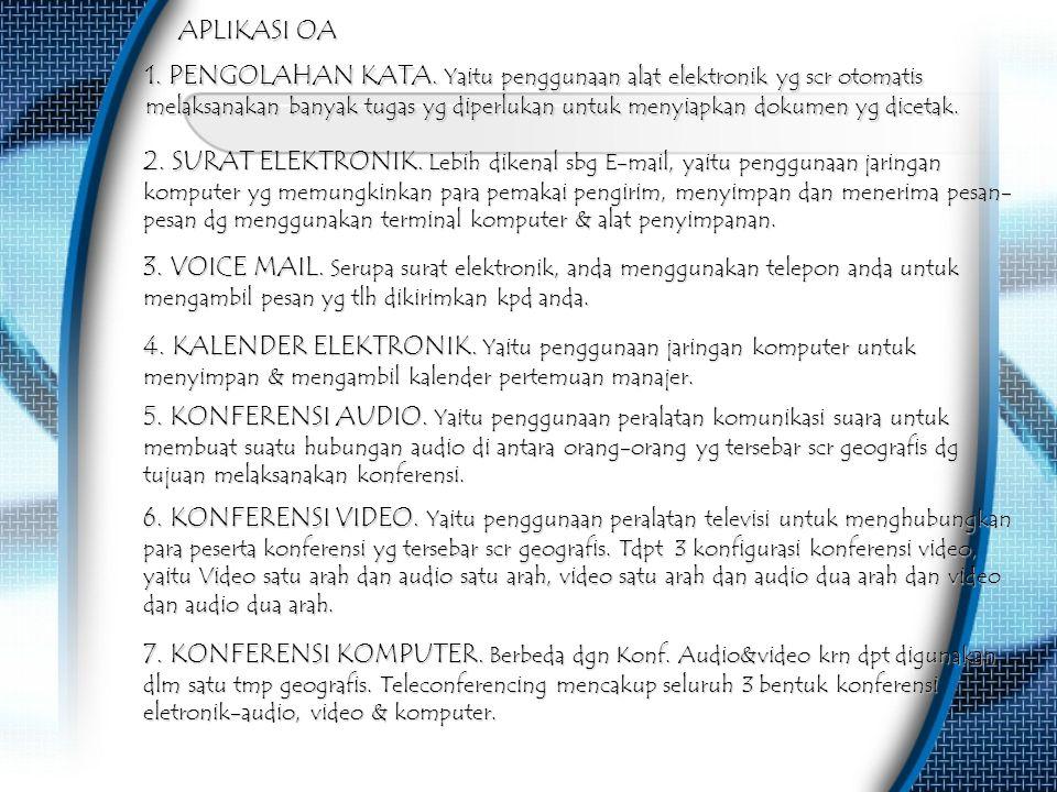 1. PENGOLAHAN KATA. Yaitu penggunaan alat elektronik yg scr otomatis melaksanakan banyak tugas yg diperlukan untuk menyiapkan dokumen yg dicetak. APLI