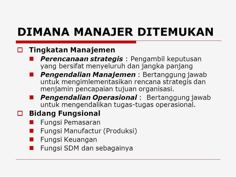 DIMANA MANAJER DITEMUKAN  Tingkatan Manajemen Perencanaan strategis : Pengambil keputusan yang bersifat menyeluruh dan jangka panjang Pengendalian Ma