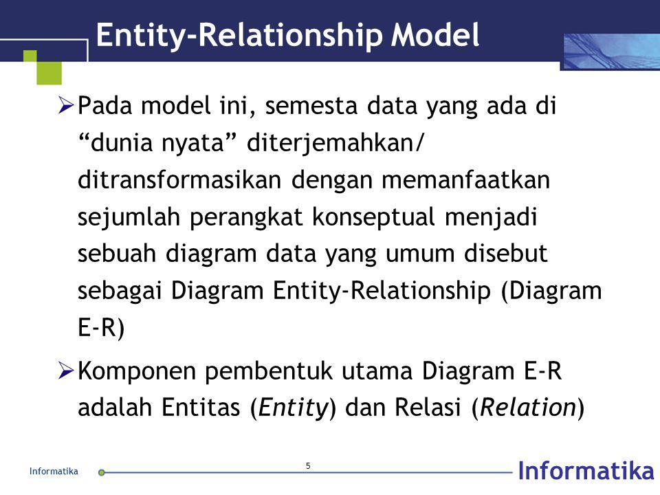 Informatika 6 Entity & Entity Set  Entity merupakan individu yang mewakili sesuatu yang nyata (eksistensinya) dan dapat dibedakan dari sesuatu yang lain  Entity Set merupakan sekelompok entitas yang sejenis dan berada dalam lingkup yang sama