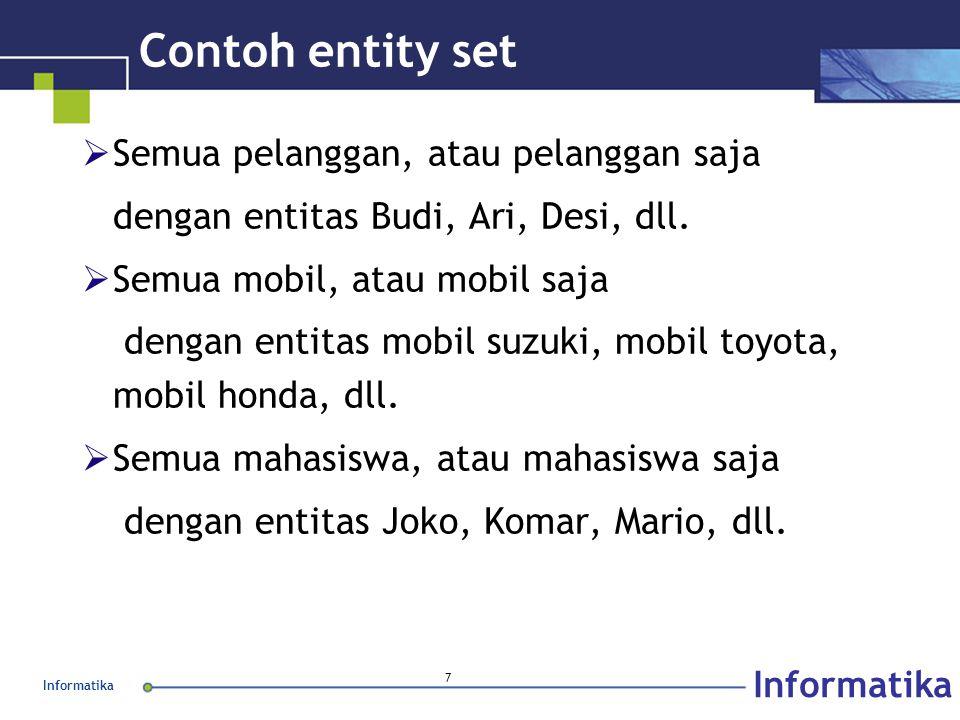 Informatika 7 Contoh entity set  Semua pelanggan, atau pelanggan saja dengan entitas Budi, Ari, Desi, dll.  Semua mobil, atau mobil saja dengan enti