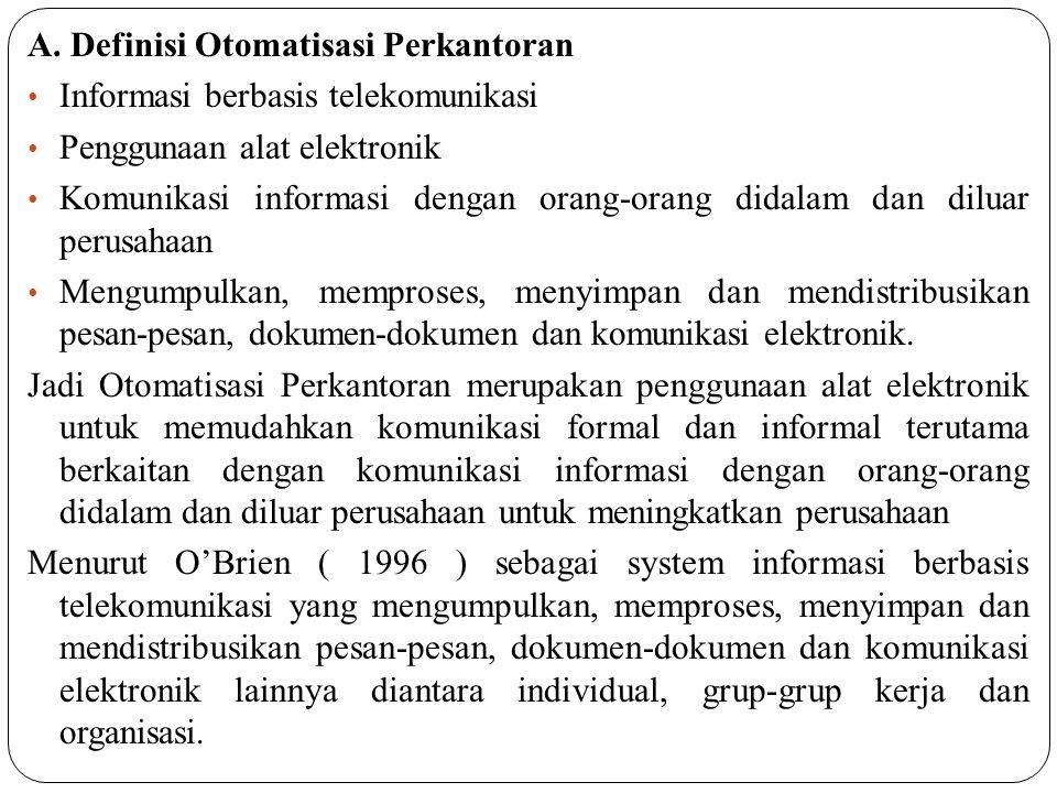 A. Definisi Otomatisasi Perkantoran Informasi berbasis telekomunikasi Penggunaan alat elektronik Komunikasi informasi dengan orang-orang didalam dan d