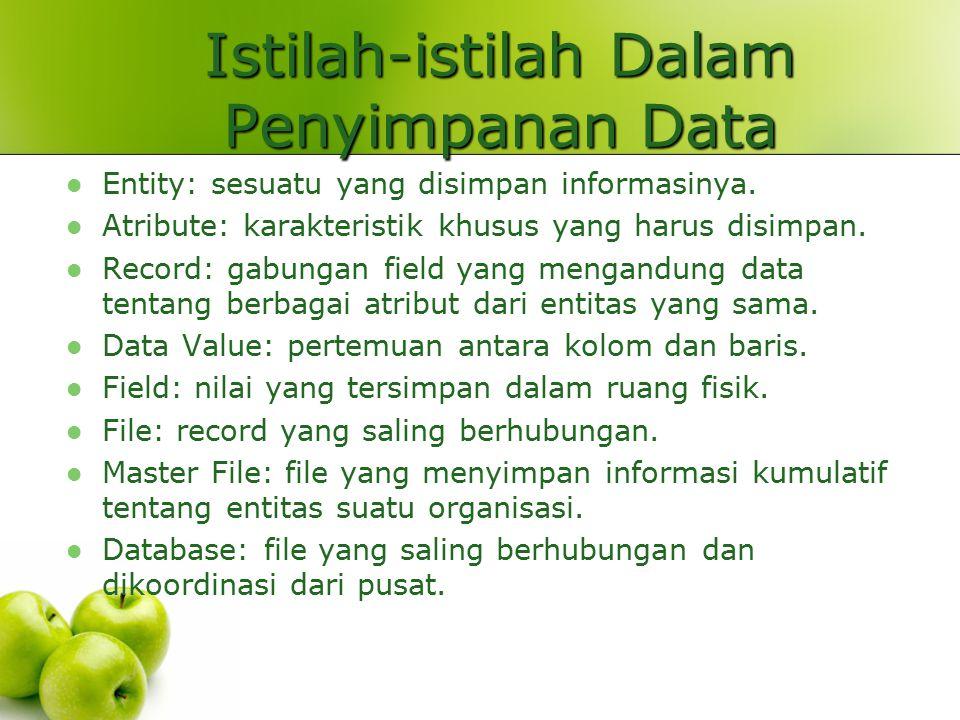 Istilah-istilah Dalam Penyimpanan Data Entity: sesuatu yang disimpan informasinya.