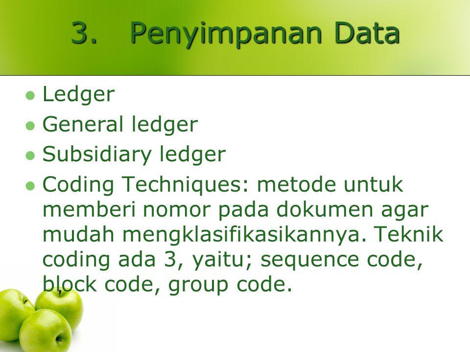 3. Penyimpanan Data Ledger General ledger Subsidiary ledger Coding Techniques: metode untuk memberi nomor pada dokumen agar mudah mengklasifikasikanny