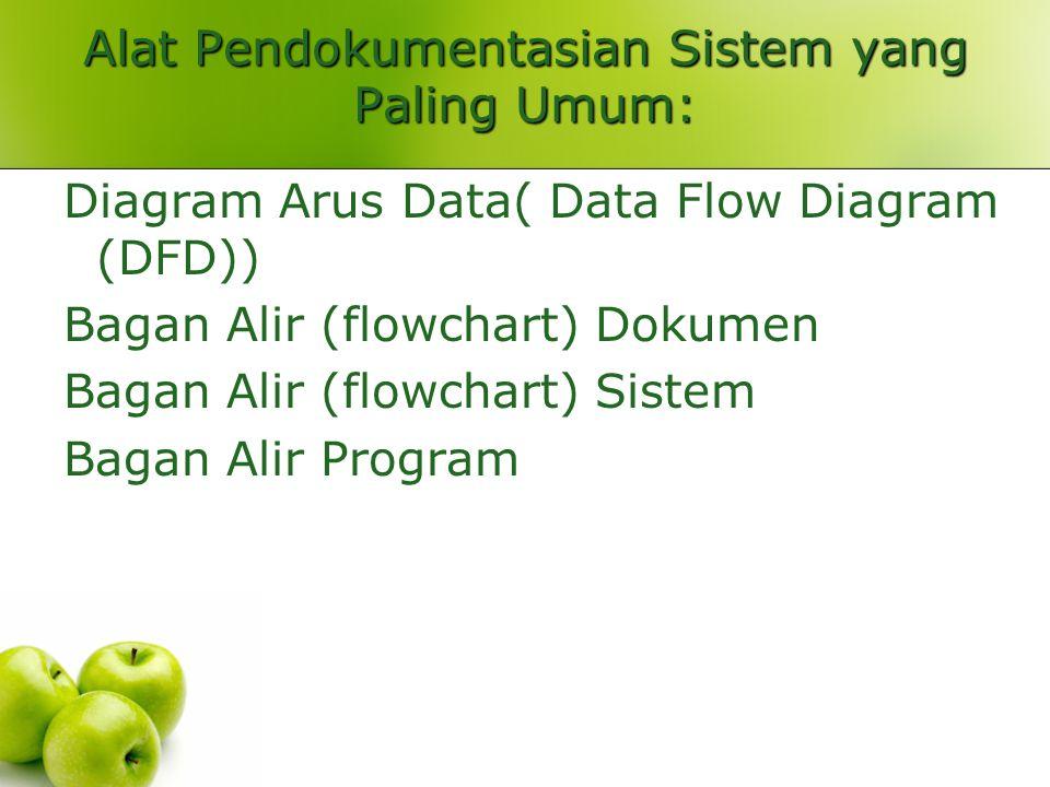 Alat Pendokumentasian Sistem yang Paling Umum: Diagram Arus Data( Data Flow Diagram (DFD)) Bagan Alir (flowchart) Dokumen Bagan Alir (flowchart) Sistem Bagan Alir Program