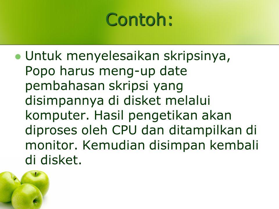 Contoh: Untuk menyelesaikan skripsinya, Popo harus meng-up date pembahasan skripsi yang disimpannya di disket melalui komputer.