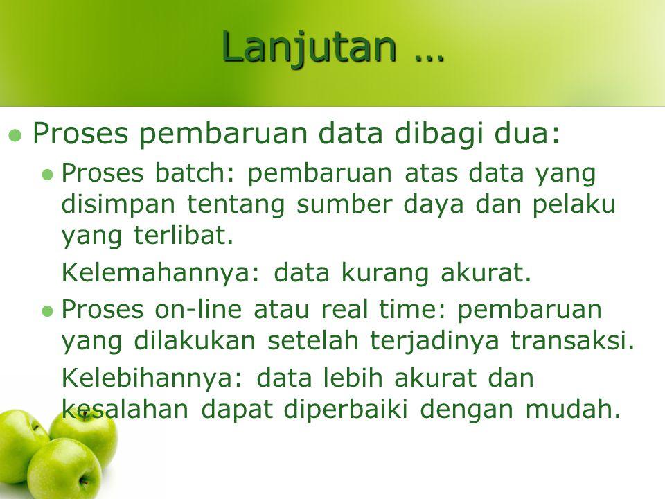 Lanjutan … Proses pembaruan data dibagi dua: Proses batch: pembaruan atas data yang disimpan tentang sumber daya dan pelaku yang terlibat. Kelemahanny