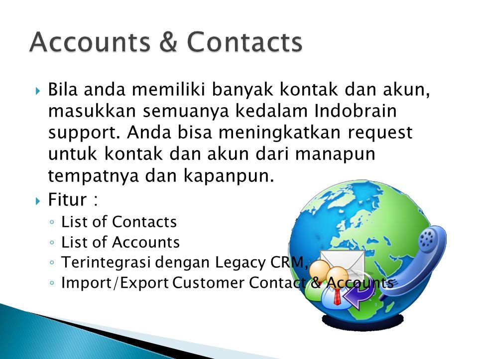  Bila anda memiliki banyak kontak dan akun, masukkan semuanya kedalam Indobrain support. Anda bisa meningkatkan request untuk kontak dan akun dari ma