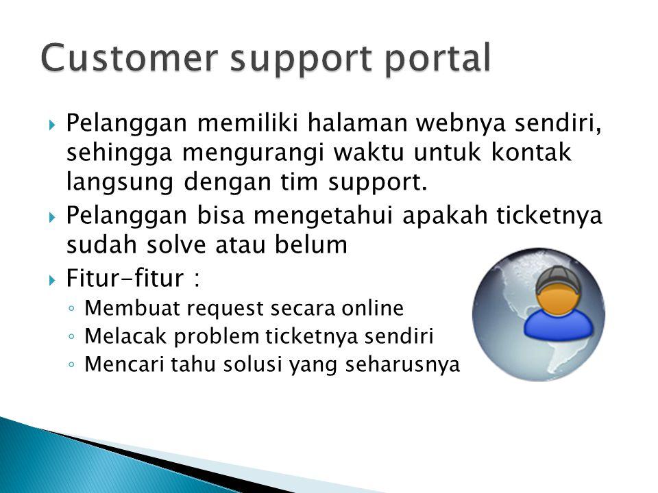  Pelanggan memiliki halaman webnya sendiri, sehingga mengurangi waktu untuk kontak langsung dengan tim support.  Pelanggan bisa mengetahui apakah ti