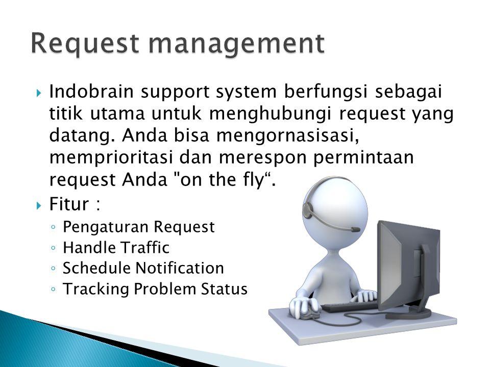  Indobrain support system berfungsi sebagai titik utama untuk menghubungi request yang datang. Anda bisa mengornasisasi, memprioritasi dan merespon p