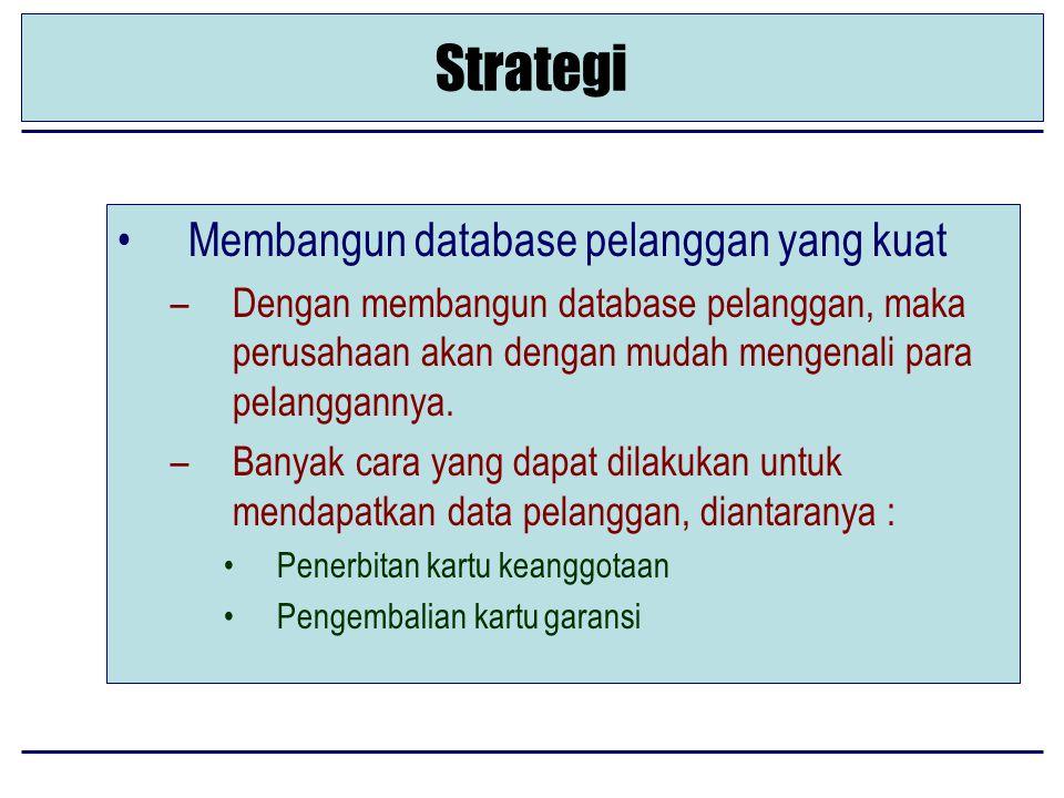 Strategi Membangun database pelanggan yang kuat –Dengan membangun database pelanggan, maka perusahaan akan dengan mudah mengenali para pelanggannya.