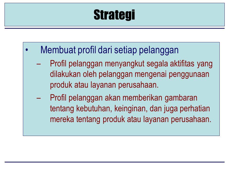 Strategi Membuat profil dari setiap pelanggan –Profil pelanggan menyangkut segala aktifitas yang dilakukan oleh pelanggan mengenai penggunaan produk atau layanan perusahaan.
