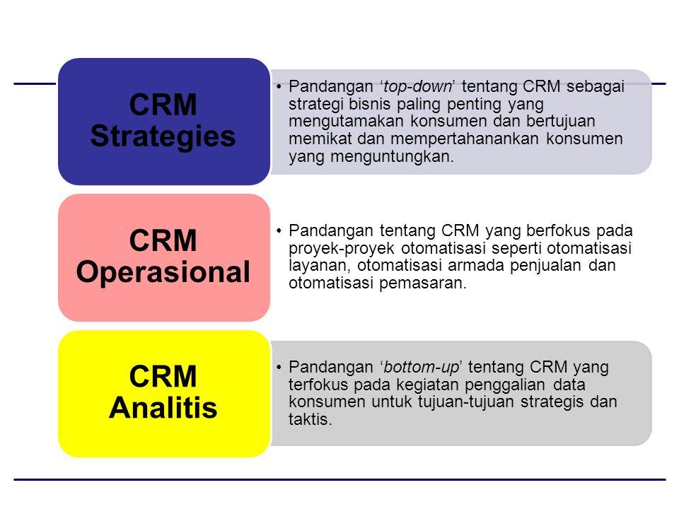 Pandangan 'top-down' tentang CRM sebagai strategi bisnis paling penting yang mengutamakan konsumen dan bertujuan memikat dan mempertahanankan konsumen yang menguntungkan.