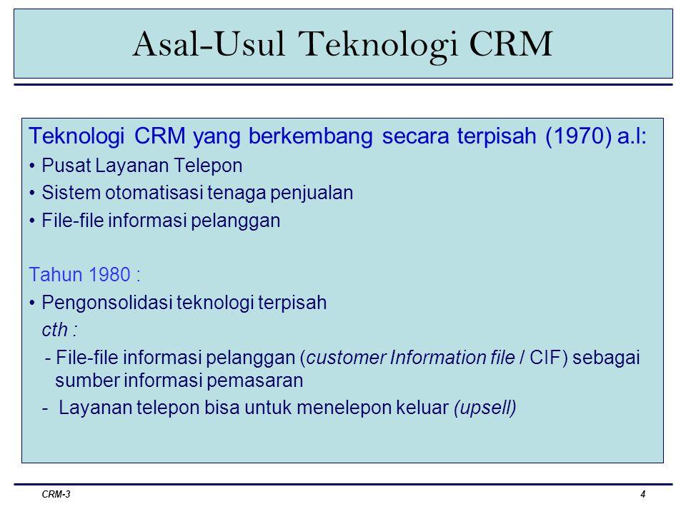 CRM-34 Asal-Usul Teknologi CRM Teknologi CRM yang berkembang secara terpisah (1970) a.l: Pusat Layanan Telepon Sistem otomatisasi tenaga penjualan File-file informasi pelanggan Tahun 1980 : Pengonsolidasi teknologi terpisah cth : - File-file informasi pelanggan (customer Information file / CIF) sebagai sumber informasi pemasaran - Layanan telepon bisa untuk menelepon keluar (upsell)