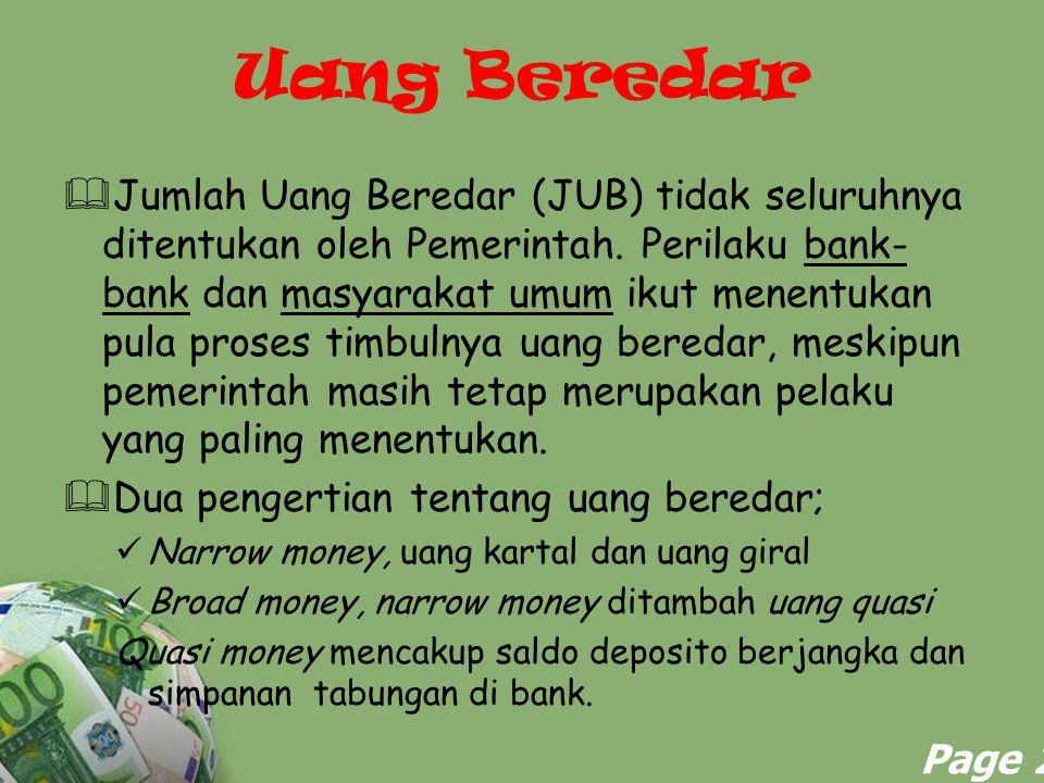 Powerpoint Templates Page 2 Uang Beredar  Jumlah Uang Beredar (JUB) tidak seluruhnya ditentukan oleh Pemerintah. Perilaku bank- bank dan masyarakat u