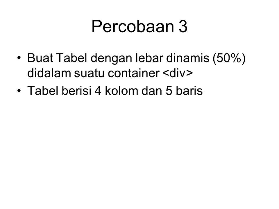Percobaan 3 Buat Tabel dengan lebar dinamis (50%) didalam suatu container Tabel berisi 4 kolom dan 5 baris