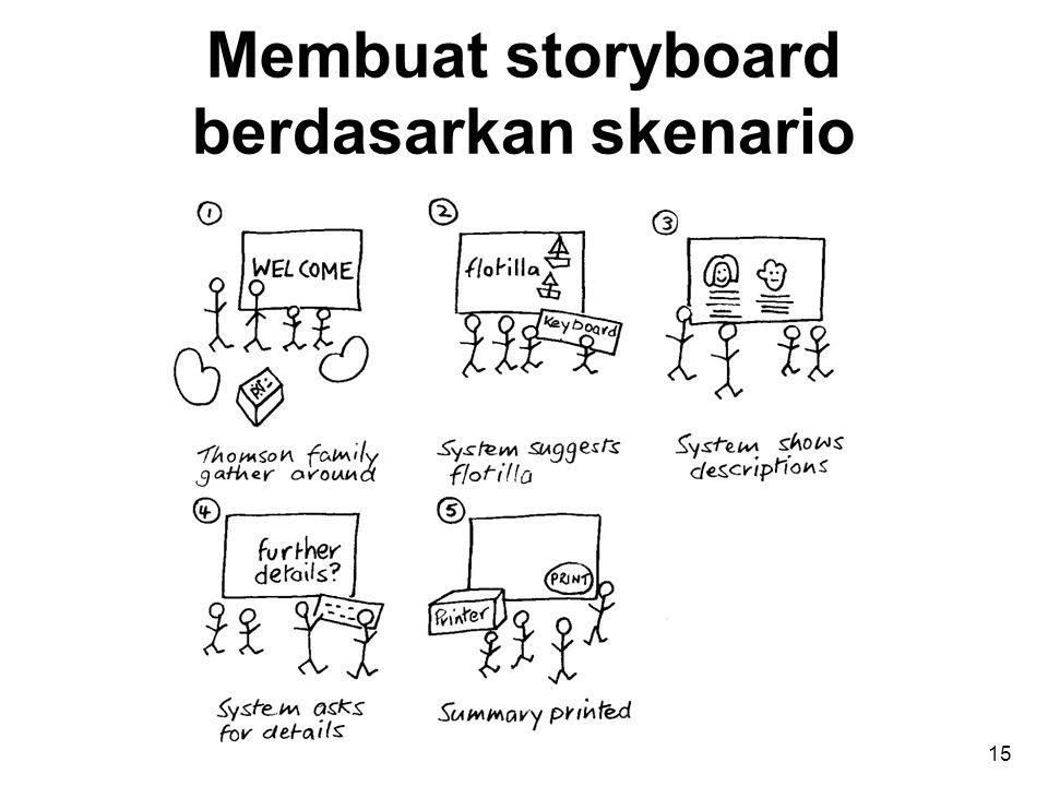 Membuat storyboard berdasarkan skenario 15