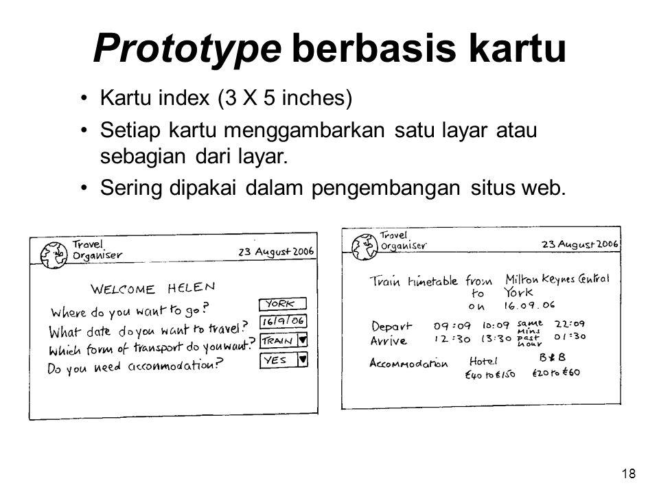 Prototype berbasis kartu Kartu index (3 X 5 inches) Setiap kartu menggambarkan satu layar atau sebagian dari layar. Sering dipakai dalam pengembangan